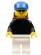 Minifig No: pln045  Name: Plain Black Torso with Black Arms, White Legs, Sunglasses, Blue Cap, Backpack
