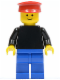 Minifig No: pln046  Name: Plain Black Torso with Black Arms, Blue Legs, Red Hat