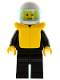 Minifig No: pln047  Name: Plain Black Torso with Black Arms, Black Legs, White Helmet, Trans-Light Blue Visor, Life Jacket