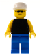 Minifig No: pln048  Name: Plain Black Torso with Yellow Arms, Blue Legs, Sunglasses, White Cap