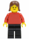 Minifig No: pln049  Name: Plain Red Torso with Red Arms, Black Legs, Brown Female Hair