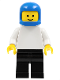 Minifig No: pln052  Name: Plain White Torso with White Arms, Black Legs, Blue Classic Helmet