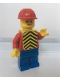 Minifig No: pln056  Name: Plain Red Torso with Red Arms, Blue Legs, Red Construction Helmet, Yellow Chevron Vest