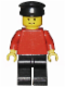 Minifig No: pln057  Name: Plain Red Torso with Red Arms, Black Legs, Black Hat