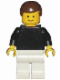 Minifig No: pln060  Name: Plain Black Torso with Black Arms, White Legs, Brown Male Hair