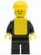 Minifig No: pln063  Name: Plain Black Torso with Black Arms, Black Legs, Yellow Construction Helmet, Yellow Vest