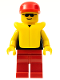 Minifig No: pln065  Name: Plain Black Torso with Yellow Arms, Red Legs, Sunglasses, Red Cap, Life Jacket
