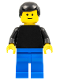 Minifig No: pln067  Name: Plain Black Torso with Black Arms, Blue Legs, Black Male Hair
