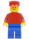 Minifig No: pln069  Name: Plain Red Torso with Red Arms, Blue Legs, Red Hat