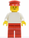 Minifig No: pln072  Name: Plain White Torso with White Arms, Red Legs, Red Hat