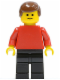 Minifig No: pln073  Name: Plain Red Torso with Red Arms, Black Legs, Brown Male Hair