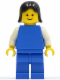 Minifig No: pln075  Name: Plain Blue Torso with White Arms, Blue Legs, Black Female Hair