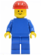Minifig No: pln076  Name: Plain Blue Torso with Blue Arms, Blue Legs, Red Construction Helmet