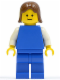 Minifig No: pln077  Name: Plain Blue Torso with White Arms, Blue Legs, Brown Female Hair