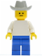 Minifig No: pln078  Name: Plain White Torso with White Arms, Blue Legs, Light Gray Cowboy Hat