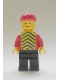 Minifig No: pln079  Name: Plain Red Torso with Red Arms, Black Legs, Red Construction Helmet, Yellow Chevron Vest