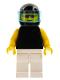 Minifig No: pln080  Name: Plain Black Torso with Yellow Arms, White Legs, Sunglasses, Black Helmet, Trans-Light Blue Visor