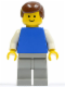 Minifig No: pln081  Name: Plain Blue Torso with White Arms, Light Gray Legs, Brown Male Hair