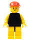 Minifig No: pln082  Name: Plain Black Torso with Yellow Arms, Yellow Legs, Red Cap