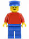 Minifig No: pln084  Name: Plain Red Torso with Red Arms, Blue Legs, Blue Hat