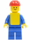 Minifig No: pln085  Name: Plain Blue Torso with Blue Arms, Blue Legs, Red Construction Helmet, Yellow Vest