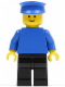 Minifig No: pln086  Name: Plain Blue Torso with Blue Arms, Black Legs, Blue Hat