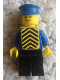 Minifig No: pln088  Name: Plain Blue Torso with Blue Arms, Black Legs, Blue Hat, Yellow Chevron Vest