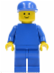 Minifig No: pln089  Name: Plain Blue Torso with Blue Arms, Blue Legs, Blue Cap