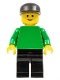 Minifig No: pln095  Name: Plain Green Torso with Green Arms, Black Legs, Black Cap