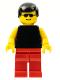Minifig No: pln096  Name: Plain Black Torso with Yellow Arms, Red Legs, Sunglasses, Black Male Hair