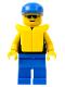 Minifig No: pln097  Name: Plain Black Torso with Yellow Arms, Blue Legs, Sunglasses, Blue Cap, Life Jacket