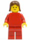 Minifig No: pln098  Name: Plain Red Torso with Red Arms, Red Legs, Brown Female Hair