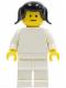 Minifig No: pln099  Name: Plain White Torso with White Arms, White Legs, Black Pigtails Hair