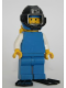 Minifig No: pln100  Name: Plain Blue Torso with White Arms, Blue Legs, Blue Helmet, Black Underwater Visor, Yellow Airtanks, Black Flippers - Diver