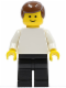 Minifig No: pln102  Name: Plain White Torso with White Arms, Black Legs, Brown Male Hair