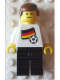 Minifig No: pln102s01  Name: Soccer Player - German Player 4, German Flag Torso Sticker on Front, Black Number Sticker on Back (specify number in listing)