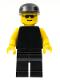 Minifig No: pln104  Name: Plain Black Torso with Yellow Arms, Black Legs, Sunglasses, Black Cap