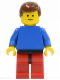 Minifig No: pln105  Name: Plain Blue Torso with Blue Arms, Red Legs with Black Hips, Brown Male Hair