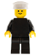 Minifig No: pln106  Name: Plain Black Torso with Black Arms, Black Legs, White Hat