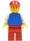 Minifig No: pln109  Name: Plain Blue Torso with White Arms, Red Legs, Red Cap, Red Hair