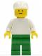 Minifig No: pln111  Name: Plain White Torso with White Arms, Green Legs, White Cap, Standard Grin