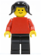 Minifig No: pln112  Name: Plain Red Torso with Red Arms, Black Legs, Black Pigtails Hair