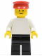 Minifig No: pln123  Name: Plain White Torso with White Arms, Black Legs, Red Hat