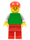 Minifig No: pln129  Name: Plain Green Torso with Light Gray Arms, Red Legs, Red Cap