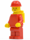 Minifig No: pln130  Name: Plain Red Torso with Red Arms, Red Legs, Red Construction Helmet, Yellow Airtanks