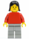 Minifig No: pln133  Name: Plain Red Torso with Red Arms, Light Gray Legs, Black Female Hair