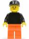 Minifig No: pln134  Name: Plain Black Torso with Black Arms, Orange Legs, Black Cap