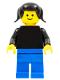 Minifig No: pln136  Name: Plain Black Torso with Black Arms, Blue Legs, Black Pigtails Hair