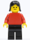 Minifig No: pln145  Name: Plain Red Torso with Red Arms, Black Legs, Black Female Hair