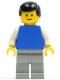 Minifig No: pln149  Name: Plain Blue Torso with White Arms, Light Gray Legs, Black Male Hair